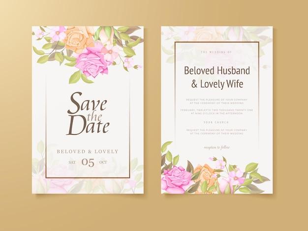 Bruiloft uitnodiging floral concept sjablonen