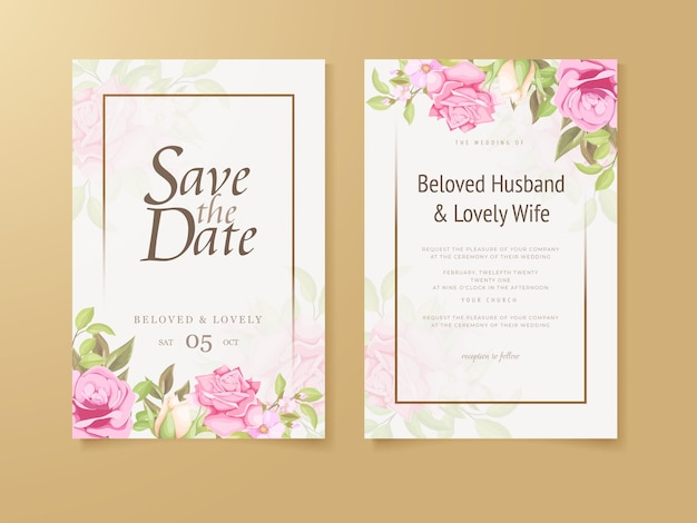 Bruiloft uitnodiging floral concept sjabloon