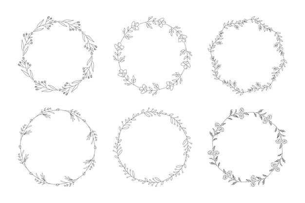Bruiloft uitnodiging floral frames instellen afbeelding