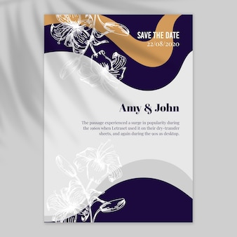 Bruiloft uitnodiging flyer met golvende lijnen