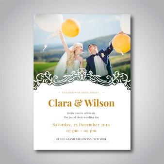 Bruiloft uitnodiging fotosjabloon
