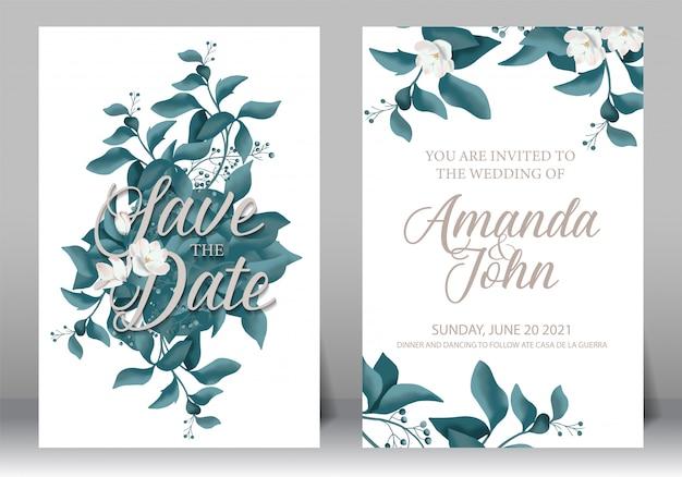 Bruiloft uitnodiging frame set; bloemen, bladeren, aquarel, geïsoleerd op wit.