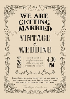 Bruiloft uitnodiging frame vintage grens vectorillustratie