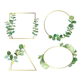 Bruiloft uitnodiging frames met bladeren