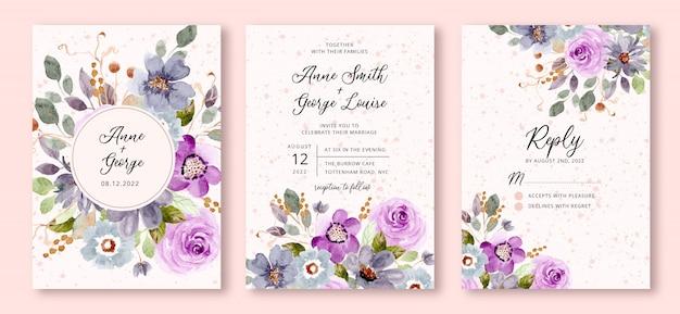 Bruiloft uitnodiging ingesteld met blauwe paarse bloemen aquarel achtergrond