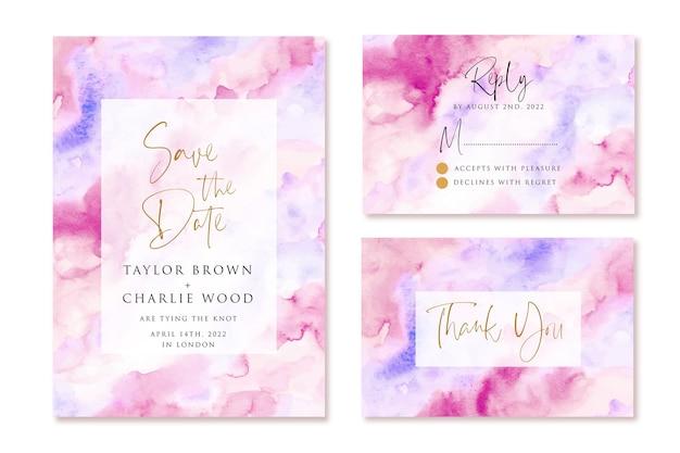 Bruiloft uitnodiging ingesteld met paars roze abstracte aquarel achtergrond