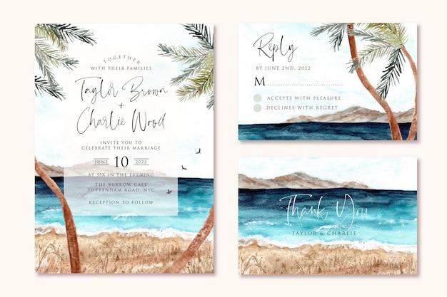 Bruiloft uitnodiging instellen met strand en palmboom aquarel achtergrond