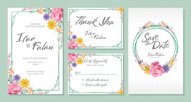Bruiloft uitnodiging kaart ontwerp sets met bloemen