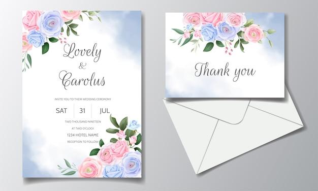 Bruiloft uitnodiging kaartenset sjabloon met mooie bloemen frame