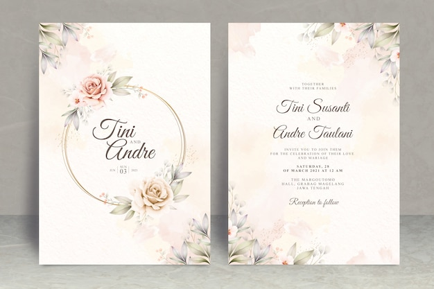 Bruiloft uitnodiging kaartensjabloon met bloemen en bladeren aquarel