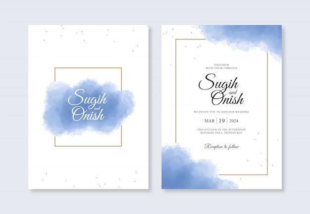 Bruiloft uitnodiging kaartsjablonen aquarel spatten en gouden frames