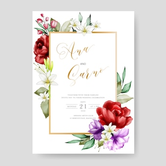 Bruiloft uitnodiging kaartsjabloon, aquarel bloemen frame