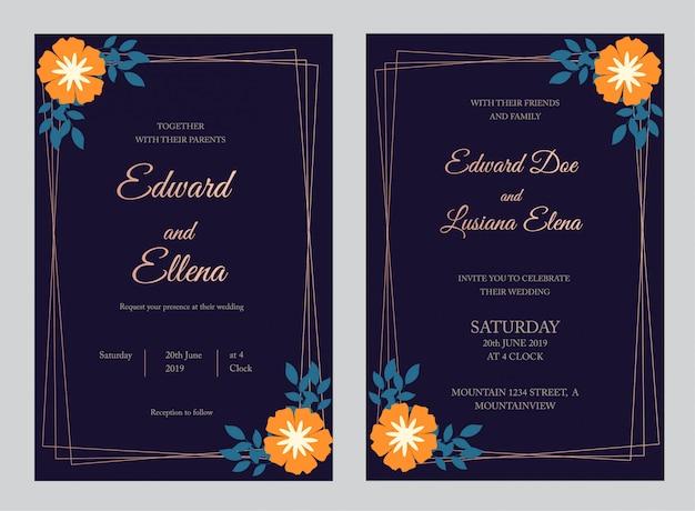 Bruiloft uitnodiging kaartsjabloon, bloemen uitnodigen dank u, rsvp modern kaartontwerp met marineblauwe takken