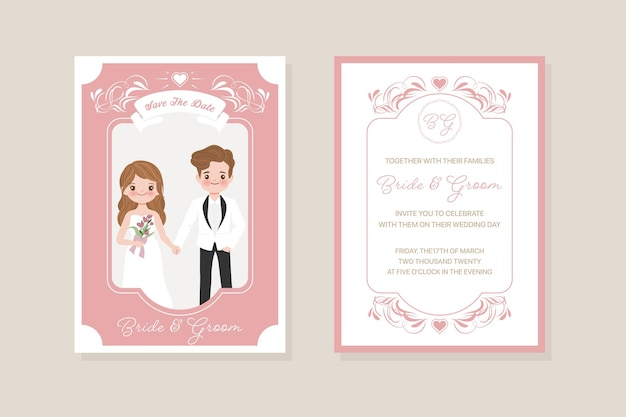 Bruiloft uitnodiging kaartsjabloon, bruid en bruidegom, liefde, relatie, liefje, verloving, valentijnsdag