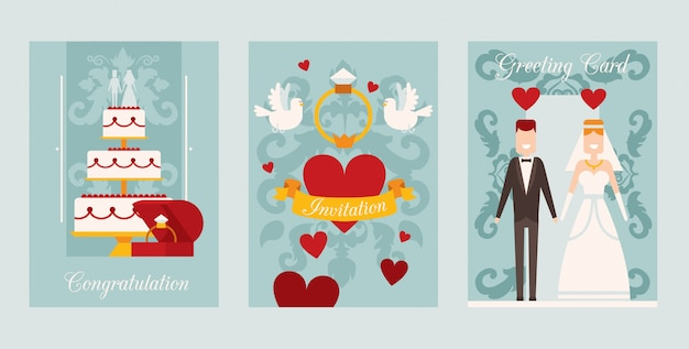 Bruiloft uitnodiging kaartsjabloon, illustratie. set van eenvoudige banners in vlakke stijl met symbolen van liefde en gelukkig huwelijk. hart, bruidstaart, bruid en bruidegom