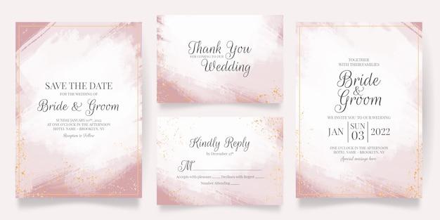 Bruiloft uitnodiging kaartsjabloon ingesteld met abstracte aquarel achtergrond