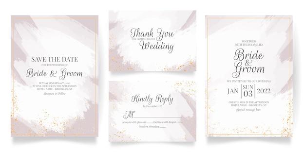Bruiloft uitnodiging kaartsjabloon ingesteld met abstracte aquarel en tropische bladeren decoratie