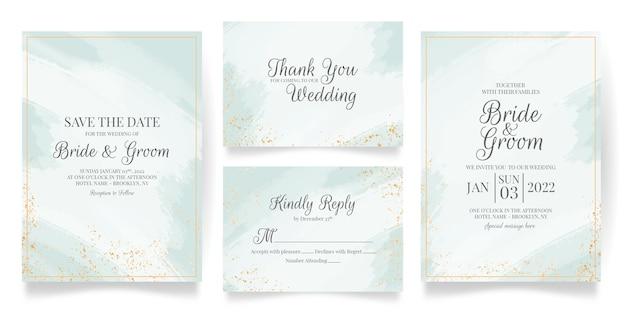 Bruiloft uitnodiging kaartsjabloon ingesteld met abstracte aquarel en tropische bladeren decoratie Premium Vector
