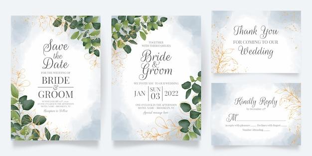 Bruiloft uitnodiging kaartsjabloon ingesteld met aquarel bladeren decoratie