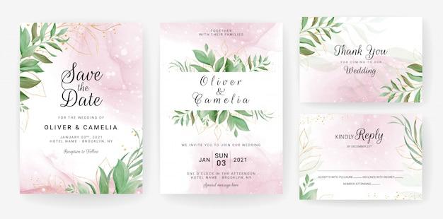 Bruiloft uitnodiging kaartsjabloon ingesteld met aquarel bladgoud decoratie.