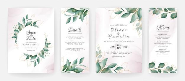 Bruiloft uitnodiging kaartsjabloon ingesteld met aquarel bladgouden decoratie.