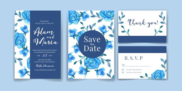 Bruiloft uitnodiging kaartsjabloon ingesteld met aquarel blauwe roos decoratie