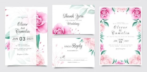 Bruiloft uitnodiging kaartsjabloon ingesteld met aquarel bloemen decoratie