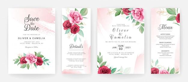 Bruiloft uitnodiging kaartsjabloon ingesteld met aquarel bloemen en blozen penseelstreek