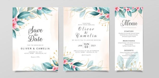 Bruiloft uitnodiging kaartsjabloon ingesteld met aquarel bloemen en goud glitter decoratie