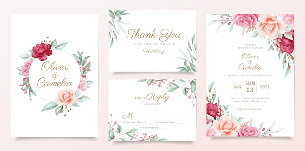 Bruiloft uitnodiging kaartsjabloon ingesteld met aquarel bloemen frame en rand