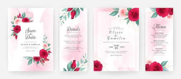 Bruiloft uitnodiging kaartsjabloon ingesteld met aquarel bloemstukken en rand.
