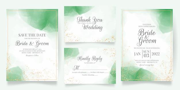 Bruiloft uitnodiging kaartsjabloon ingesteld met aquarel decoratie