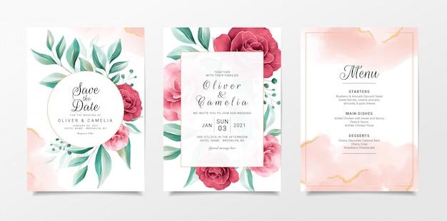 Bruiloft uitnodiging kaartsjabloon ingesteld met bloemen en goud aquarel
