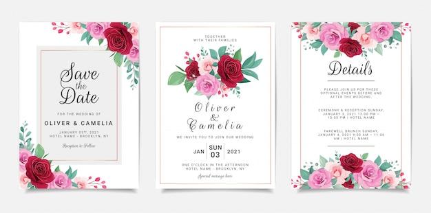 Bruiloft uitnodiging kaartsjabloon ingesteld met bloemen en gouden geometrische decoratie