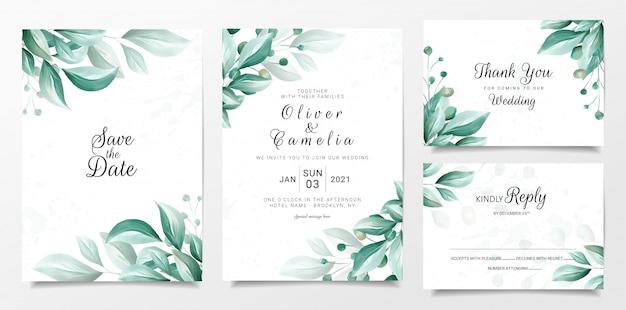 Bruiloft uitnodiging kaartsjabloon ingesteld met elegante bladeren grens
