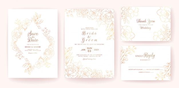 Bruiloft uitnodiging kaartsjabloon ingesteld met gouden bloemen frame en rand. line-art bloemen compositie ontwerp