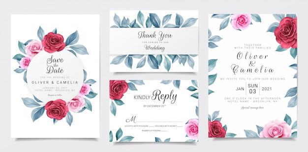 Bruiloft uitnodiging kaartsjabloon ingesteld met kastanjebruine en marine aquarel bloemen decoratie