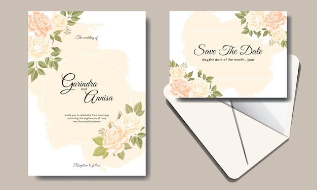 Bruiloft uitnodiging kaartsjabloon ingesteld met prachtige bloemen bladeren
