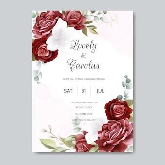 Bruiloft uitnodiging kaartsjabloon ingesteld met prachtige bloemenbladeren