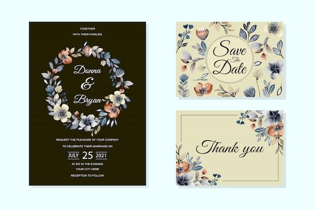 Bruiloft uitnodiging kaartsjabloon met abstract floral aquarel