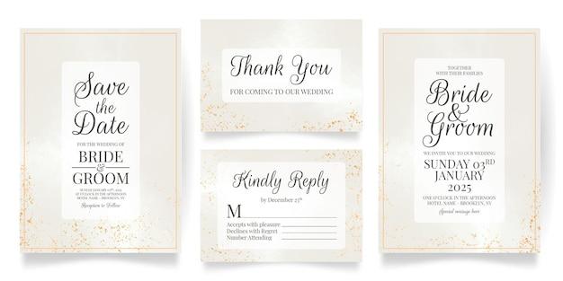Bruiloft uitnodiging kaartsjabloon met aquarel achtergrond