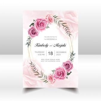 Bruiloft uitnodiging kaartsjabloon met aquarel bloemen