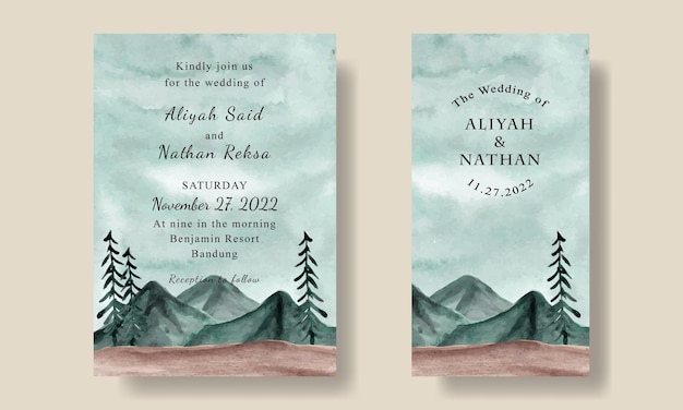 Bruiloft uitnodiging kaartsjabloon met aquarel groene hemel landschap achtergrond
