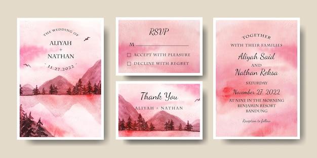 Bruiloft uitnodiging kaartsjabloon met aquarel roze hemel landschap achtergrond bewerkbare