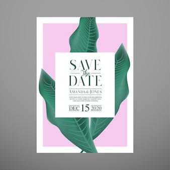 Bruiloft uitnodiging kaartsjabloon, met blad & bloemen achtergrond