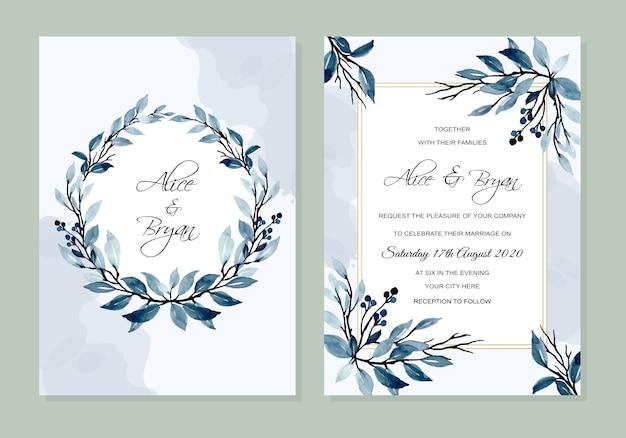 Bruiloft uitnodiging kaartsjabloon met blauwe bladeren aquarel