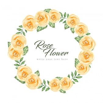 Bruiloft uitnodiging kaartsjabloon met bloem en bladeren aquarel