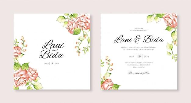 Bruiloft uitnodiging kaartsjabloon met bloem hand schilderij aquarel