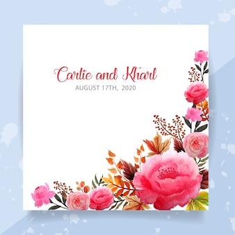Bruiloft uitnodiging kaartsjabloon met bloemen aquarel