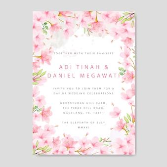 Bruiloft uitnodiging kaartsjabloon met bloemen cherry blossom frame